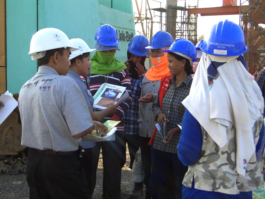 Group on construction site