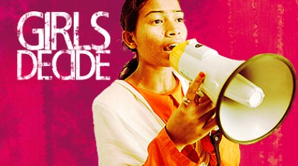 Girls decide logo with girl holding a large speaker