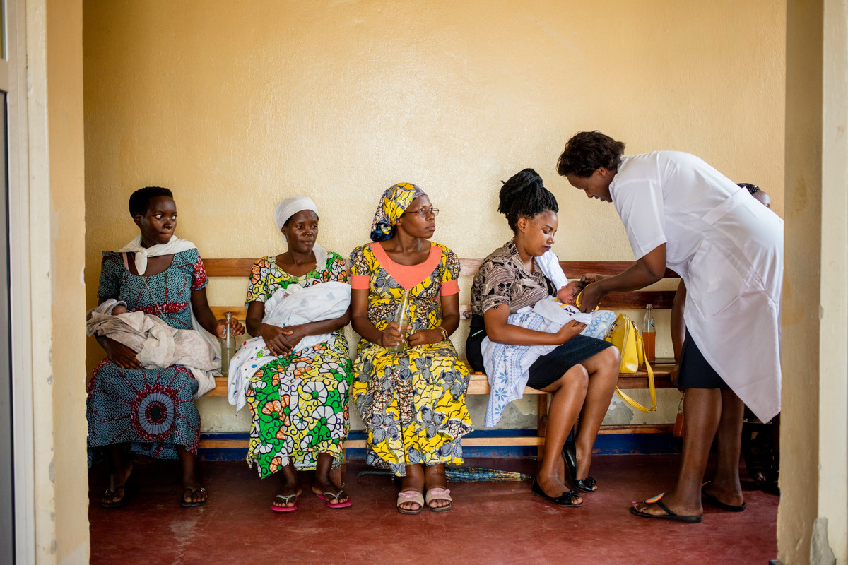 Clients wait to be seen at a ABUBEF clinic in Burundi