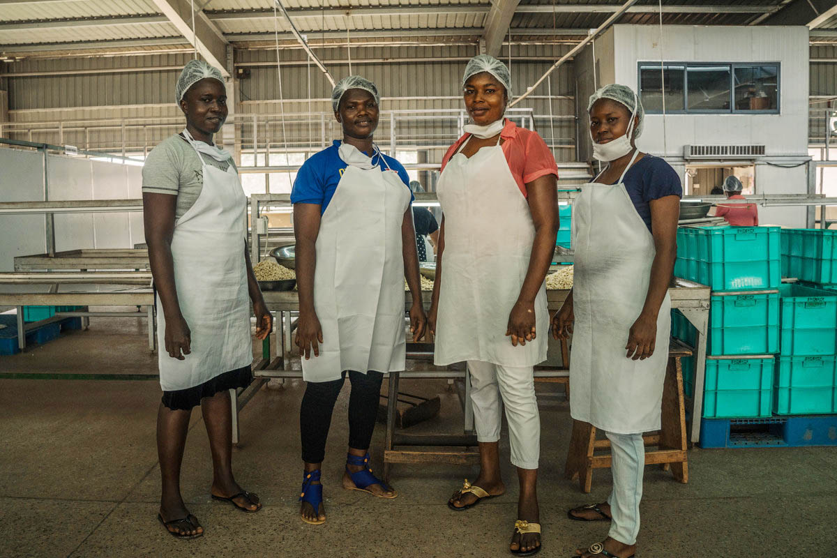 Factory workers at Mim Cashew factory, Ghana
