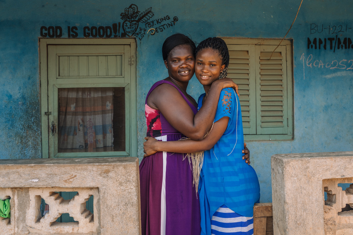 Dorcas.Amakyewaa , Mim Cashew Factory worker and peer educator, 42, with her daughter, Stella Akrasi, 19
