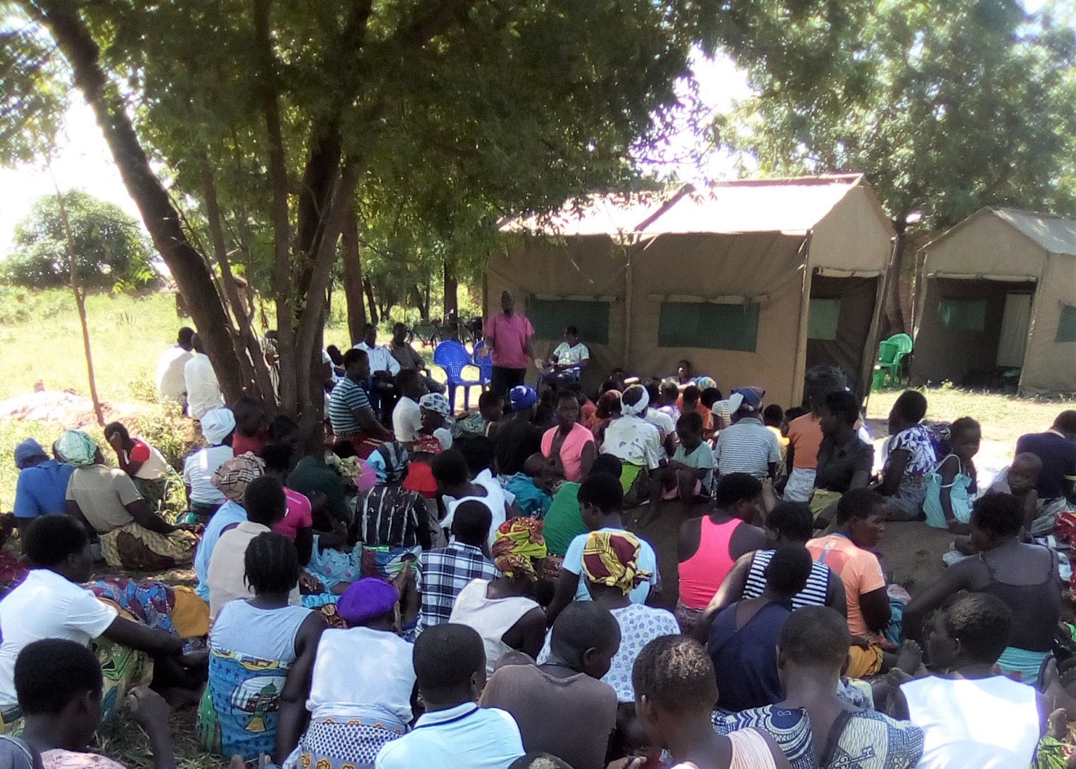 Health talk on cervical cancer in progress at Marka Camp.Malawi