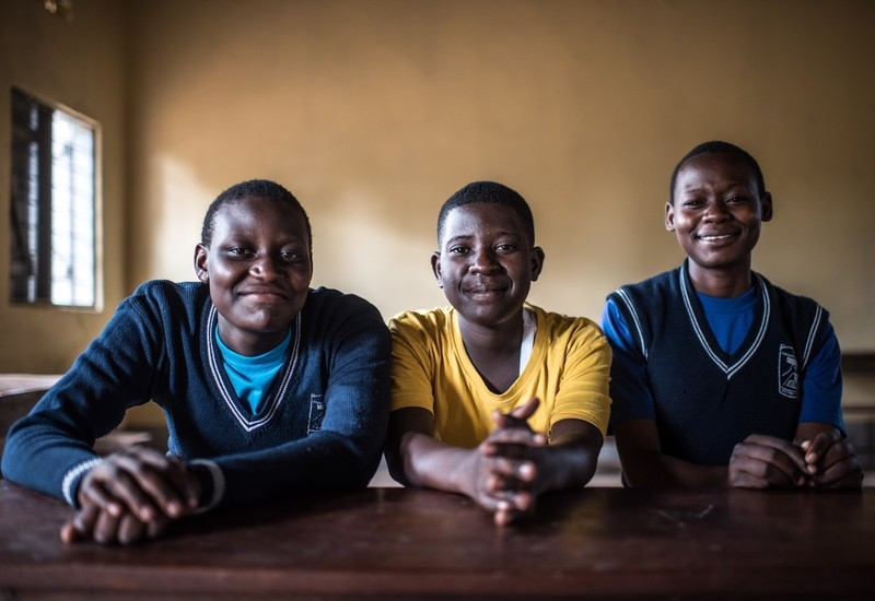 VODA student counsellors, Sharon Nakaggwa, Ritah Namaganda and Mabel Nalubwama (l-r) photographed at the Namuganga secondary school in Namuganga, Uganda.