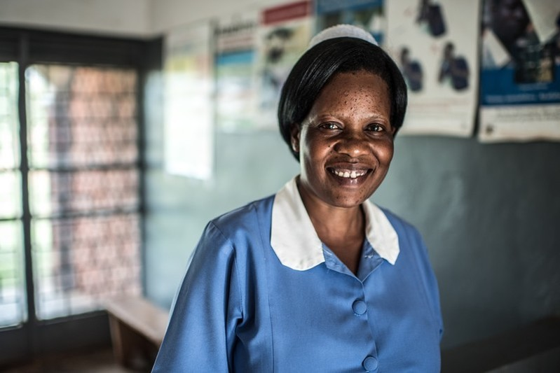 Midwife Helen Grace Amurwon photographed at the VODA-supported Namuganga Health Center, Uganda.