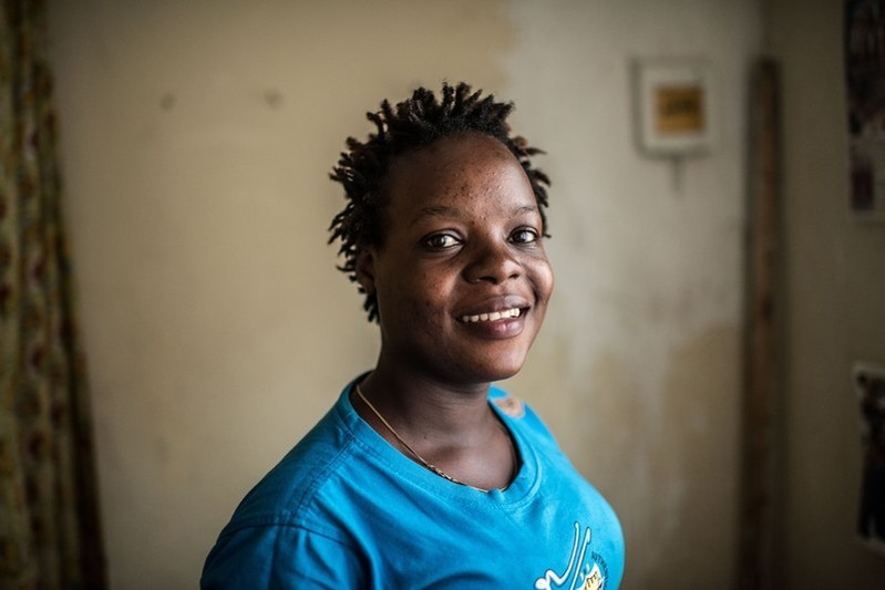 Masitula, a sex-worker and beneficiary of the Little Mermaids Bureau project at her home in Kampala, Uganda.