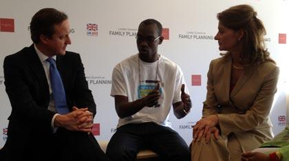 Kokou Sename from IPPF talks to David Cameron and Melinda Gates