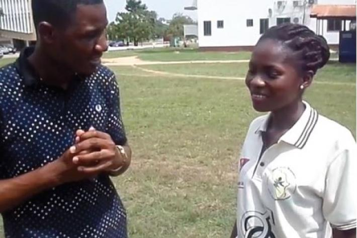 Young educator talks with peer about sexual and reproductive health