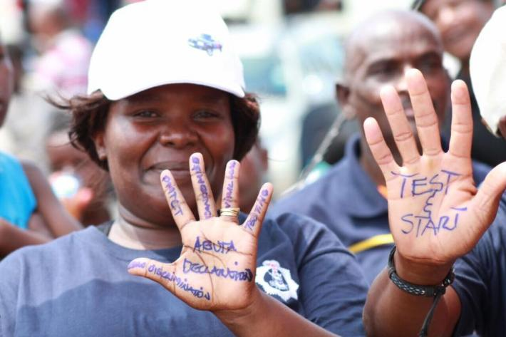 activist in Swaziland during World AIDS day initiatives