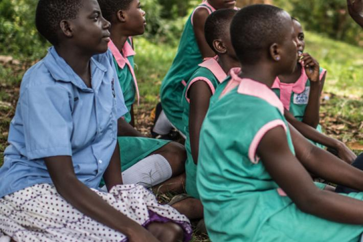 School girls receiving counselling from IPPF, Uganda