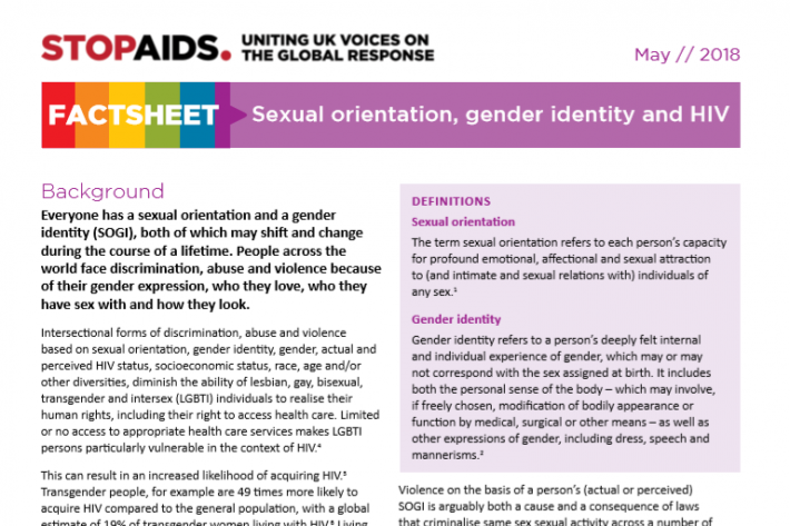 STOPAIDS Factsheet: Sexual orientation, gender identity and HIV