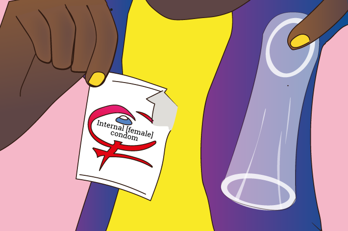 Illustration of an internal/female condom