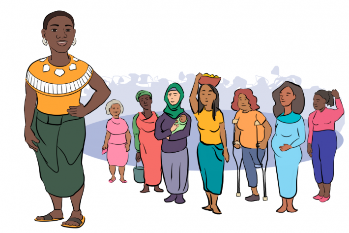 An illustration of a group of women