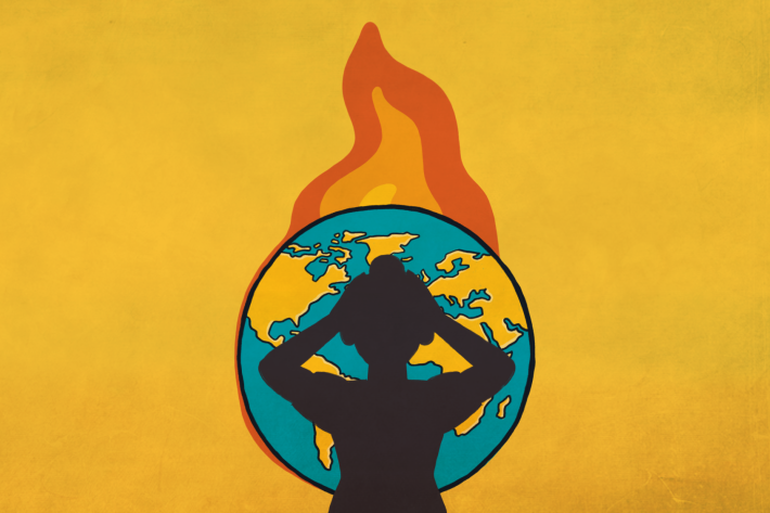 An illustration of a distressed woman in a burning globe