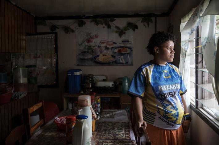 7 months pregnant, Kelera in her house in Natalacake villagein Ra Province.