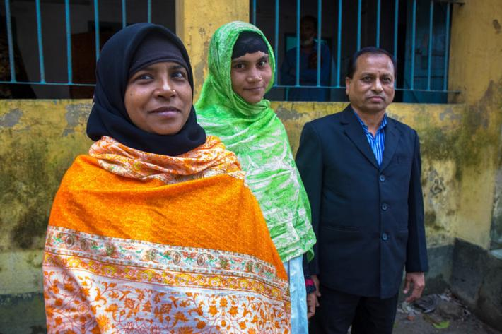 "Mr. Binoy Kumar Sarkar, Ms. Salma Parvin and Ms. Khadija Khatun, say that around 20 villages and 100,000 people are covered by the facility. Recent flooding had a huge impact on the services and local community.  ""We had to stand on chairs. Very few patients came to access services."""