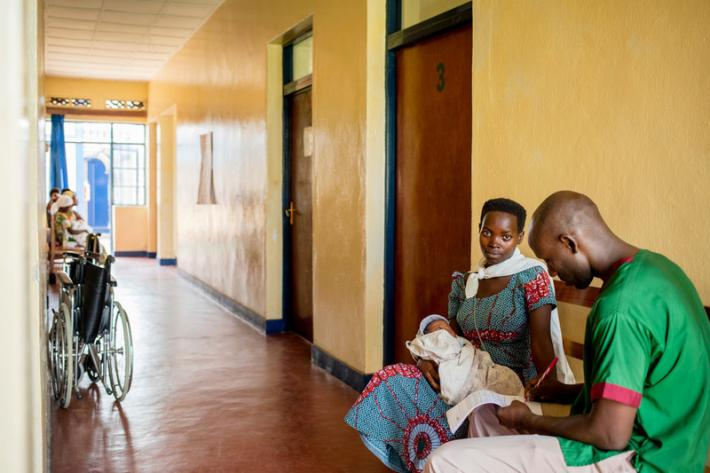 Claudine Nshimirimana, 21 with her second child at ABUBEF clinic in Bujumbura.