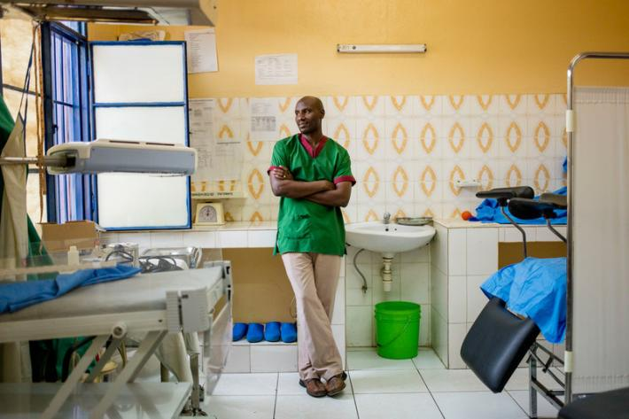 Midwife Desire Manirakiza, takes a well-deserved break at the ABUBEF clinic in Bujumbura.