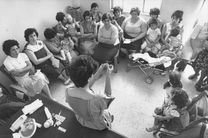 Health workers at the family planning clinic running a session on types of contraceptive methods. Cyprus, 1985