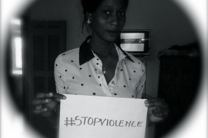 Activist supporting the campaign against gender-based violence