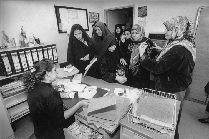 Women paying for their contraceptives at the Habiba hospital. Iraq