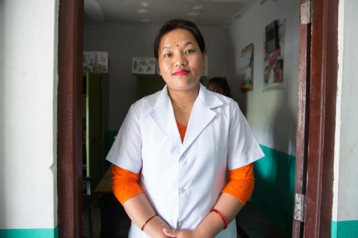 "Kamala Junari is a senior auxiliary nurse midwife. ""Nurses in this area have so many responsibilities,"" she says. ""They have to take care of pregnant women right from the beginning of their pregnancy to postdelivery. They are the most important people to advise people on safe motherhood."""