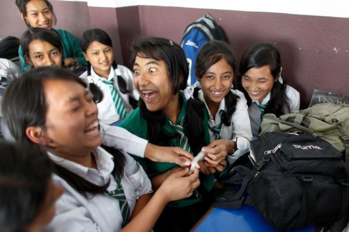 Girls take part in a sex education class at the Nawaratna Secondary School in Kathmandu.