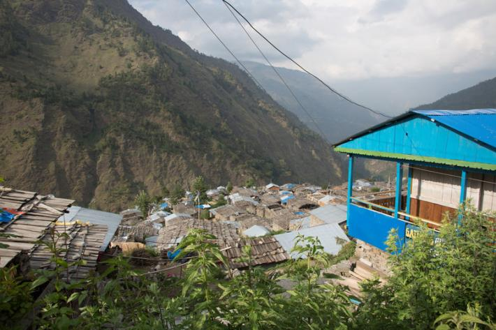 Two years after the earthquake that struck Nepal in April 2015, the village of Gatlang in the country's mountainous north still lies in partial ruin. The houses here are built from enormous slabs of local stone, carved windows and doors, and roofs of stacked wooden planks.