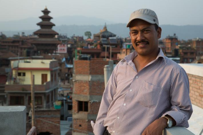 Rishi Timila runs a small family company selling spices out of the family home in a village near Bhaktapur. He has also been a community volunteer for the Family Planning Association of Nepal (FPAN) for 20 years.