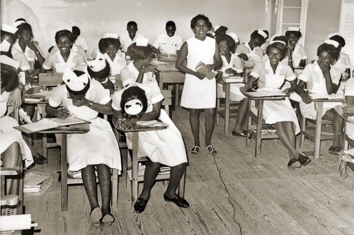 Student nurses at a training session. c1969