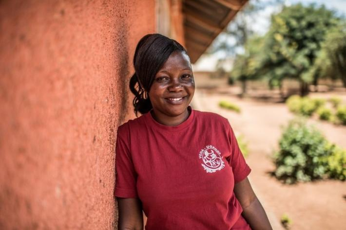Milly, a teacher and VODA community volunteer, at a primary school in Kasawo, Uganda.