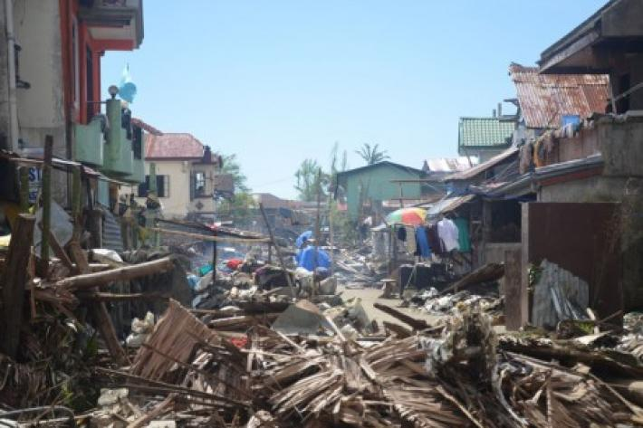Destruction after typhoon in the Philippines