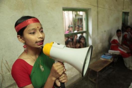 Girl with megaphone, Bangladesh
