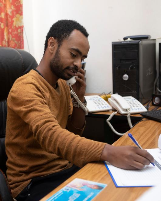 Youth leader Nebiyu Ephirem, 26, has been staffing the phones at a hotline for young people who have questions about sexual and reproductive health since it started in 2017