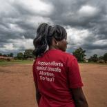 Milly, a teacher and VODA community volunteer, wears a t-shirt advocating for safe abortions in Kasawo, Uganda.