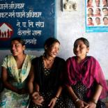 Three women sit together in IPPF clinic in Nepal