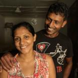 A couple affected by the floods in Sri Lanka