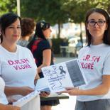 Youth volunteers handing out information on sexual & reproductive healthcare in Albania.
