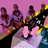 Alice and her school friends with their Pink Box initiative