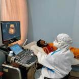 a woman received a scan at a clinic in Bangladesh during covid-19