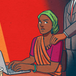 An illustration of a woman being harassed at work